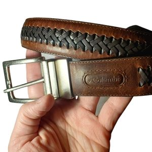 Columbia Genuine Leather Woven Reversible Belt 34